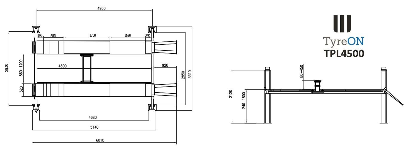 tpl4500 pont 4 colonnes automotive equipment. Black Bedroom Furniture Sets. Home Design Ideas